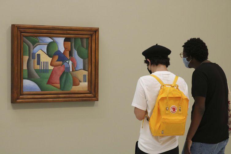 São Paulo - Obra 'A caipirinha', de Tarsila do Amaral, é exposta na galeria Bolsa de Arte antes de ser leiloada por decisão judicial. Foto: © Rovena Rosa/Agência Brasil.